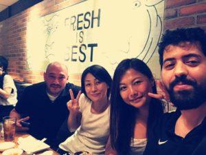 大阪セミナー懇親会にて Jay先生、美保さん、サウジアラビアからのアブドゥラさんとのショット。